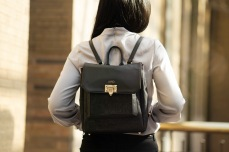 MAIKEN: Shadow Black & Gold Envelope Backpack