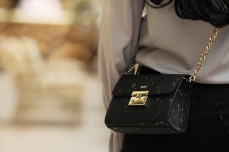 HAIFA: Textured Black & Gold Small Crossbody