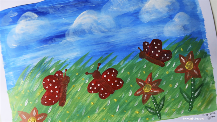 Post Aug 11 2020 Pic 13 - Blue sky butterflies acrylic painting
