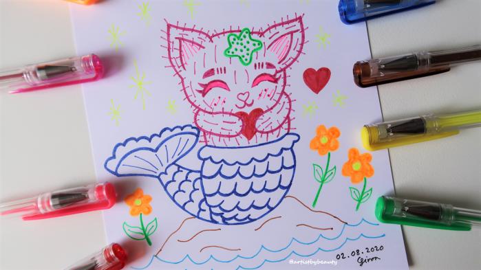 Post Aug 2 2020 Pic 5 - Happy Cat Mermaid Drawing